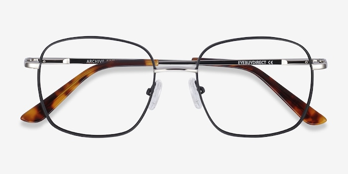 Archive Black Metal Eyeglass Frames from EyeBuyDirect, Closed View