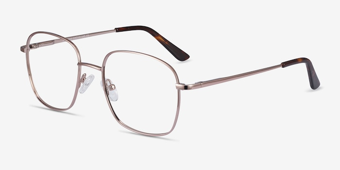 Archive Rose Gold Metal Eyeglass Frames from EyeBuyDirect, Angle View