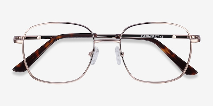 Archive Rose Gold Metal Eyeglass Frames from EyeBuyDirect, Closed View