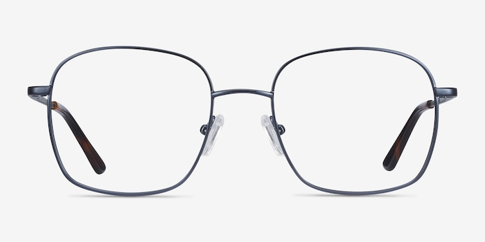 Archive Navy Metal Eyeglass Frames from EyeBuyDirect, Front View