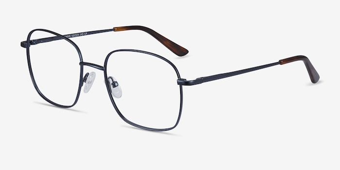 Archive Navy Metal Eyeglass Frames from EyeBuyDirect, Angle View