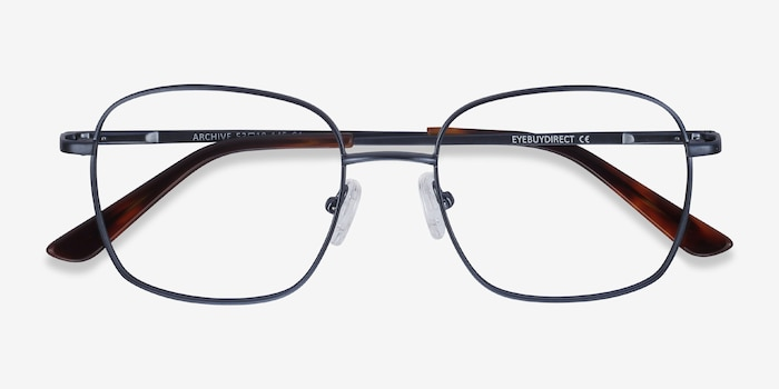 Archive Navy Metal Eyeglass Frames from EyeBuyDirect, Closed View