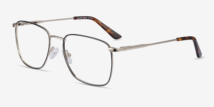 Reason Black Gold Metal Eyeglass Frames from EyeBuyDirect, Angle View
