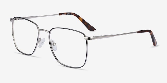 Reason Black Silver Metal Eyeglass Frames from EyeBuyDirect, Angle View