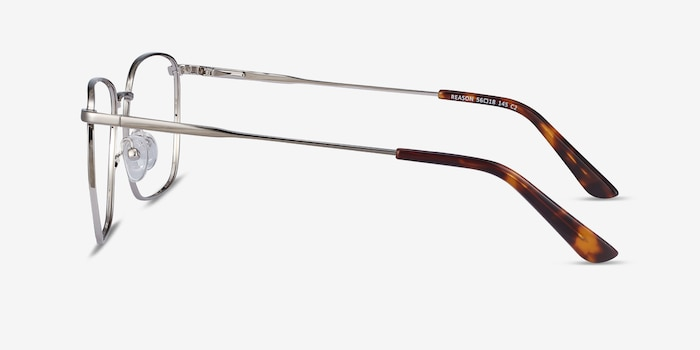 Reason Black Silver Metal Eyeglass Frames from EyeBuyDirect, Side View