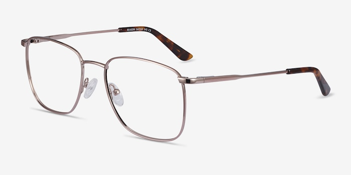 Reason Rose Gold Metal Eyeglass Frames from EyeBuyDirect, Angle View
