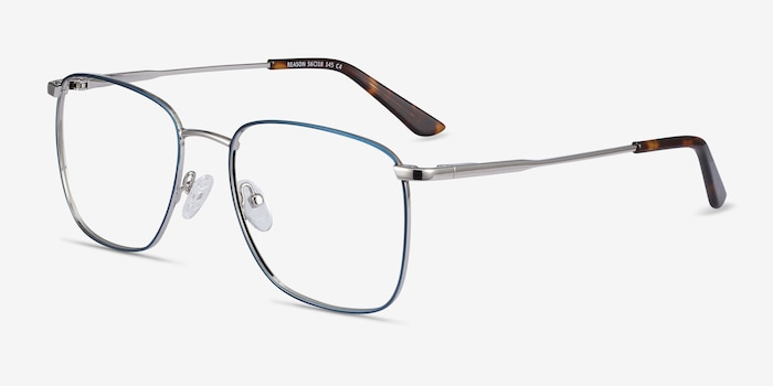 Reason Navy Metal Eyeglass Frames from EyeBuyDirect, Angle View