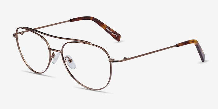 Max Brown Metal Eyeglass Frames from EyeBuyDirect, Angle View