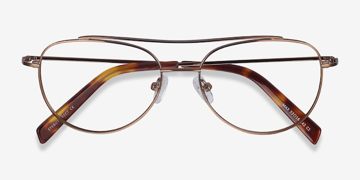Max Brown Metal Eyeglass Frames from EyeBuyDirect, Closed View