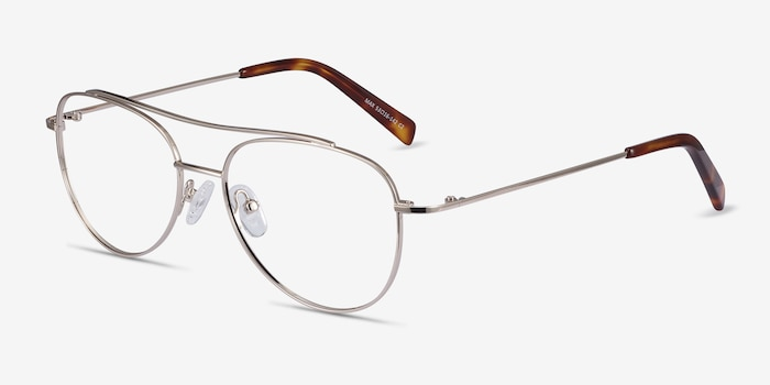 Max Gold Metal Eyeglass Frames from EyeBuyDirect, Angle View