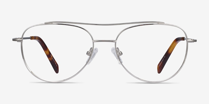 Max Silver Metal Eyeglass Frames from EyeBuyDirect, Front View