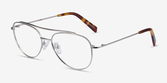 Max Silver Metal Eyeglass Frames from EyeBuyDirect, Angle View
