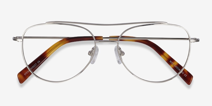 Max Silver Metal Eyeglass Frames from EyeBuyDirect, Closed View