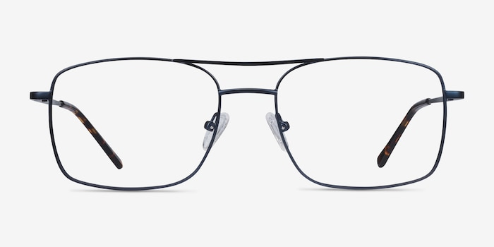 Daymo Navy Metal Eyeglass Frames from EyeBuyDirect, Front View