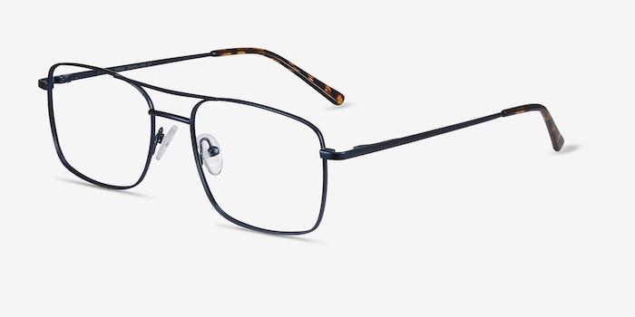 Daymo Navy Metal Eyeglass Frames from EyeBuyDirect, Angle View