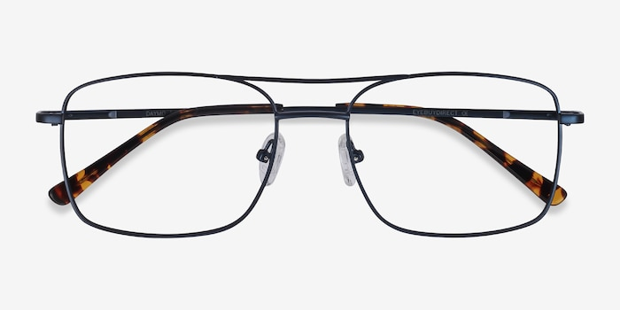 Daymo Navy Metal Eyeglass Frames from EyeBuyDirect, Closed View