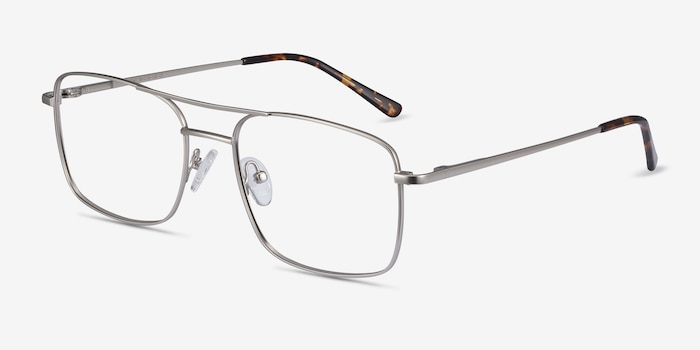 Daymo Silver Metal Eyeglass Frames from EyeBuyDirect, Angle View