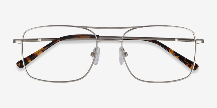 Daymo Silver Metal Eyeglass Frames from EyeBuyDirect, Closed View