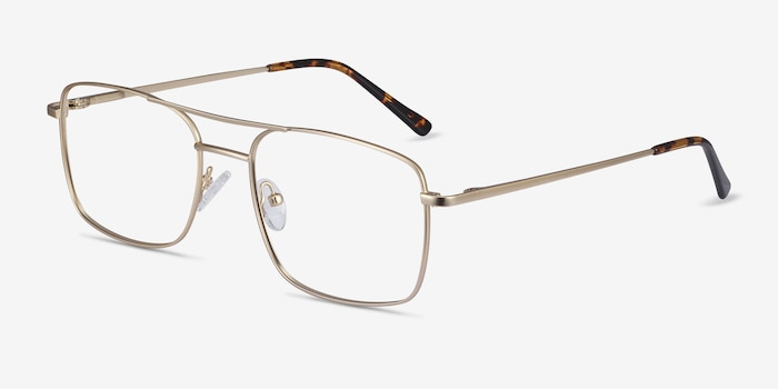 Daymo Gold Metal Eyeglass Frames from EyeBuyDirect, Angle View