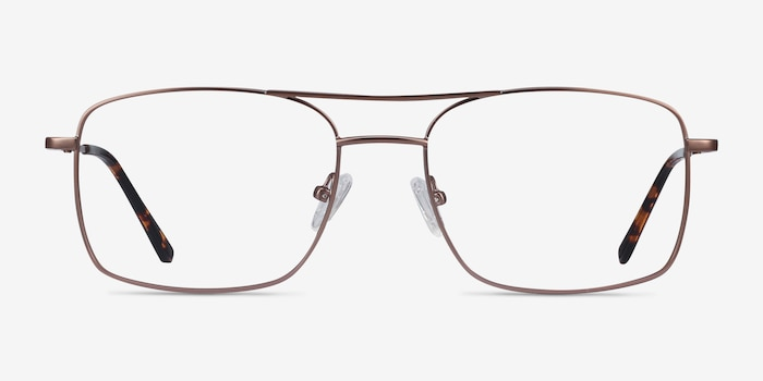 Daymo Brown Metal Eyeglass Frames from EyeBuyDirect, Front View