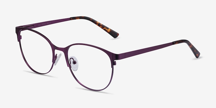 Kali Purple Metal Eyeglass Frames from EyeBuyDirect, Angle View