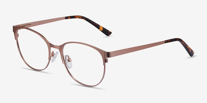 Kali Rose Gold Metal Eyeglass Frames from EyeBuyDirect, Angle View