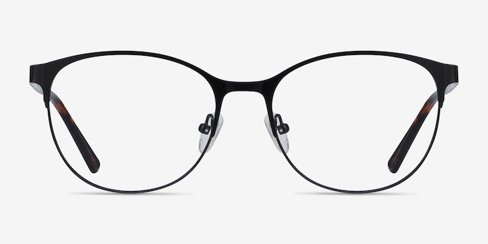Kali Black Metal Eyeglass Frames from EyeBuyDirect, Front View