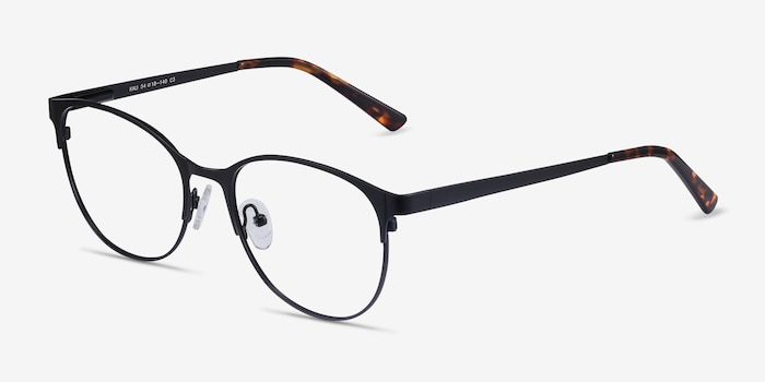 Kali Black Metal Eyeglass Frames from EyeBuyDirect, Angle View