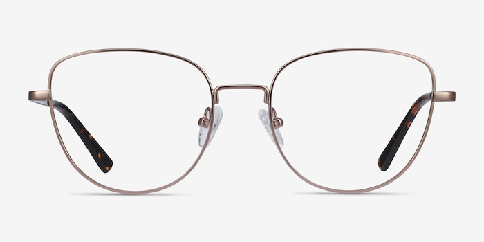 Clotilde Rose Gold Metal Eyeglass Frames from EyeBuyDirect, Front View