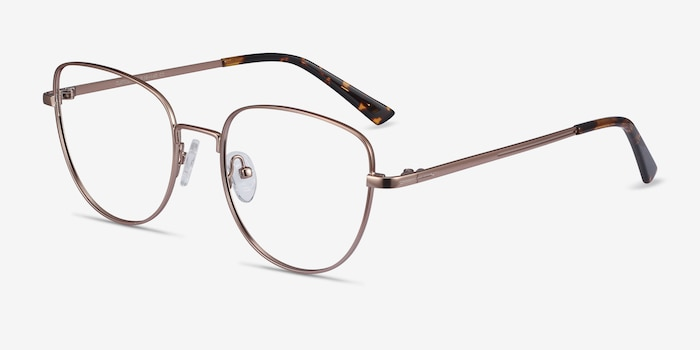 Clotilde Rose Gold Metal Eyeglass Frames from EyeBuyDirect, Angle View