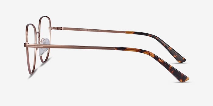 Clotilde Rose Gold Metal Eyeglass Frames from EyeBuyDirect, Side View