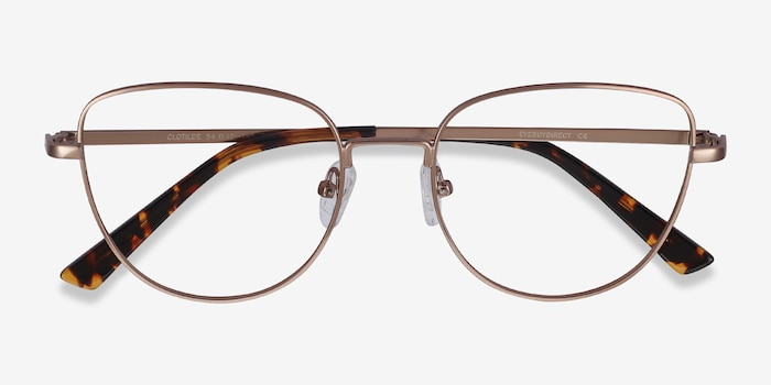 Clotilde Rose Gold Metal Eyeglass Frames from EyeBuyDirect, Closed View