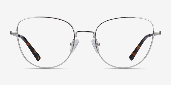 Clotilde Silver Metal Eyeglass Frames from EyeBuyDirect, Front View
