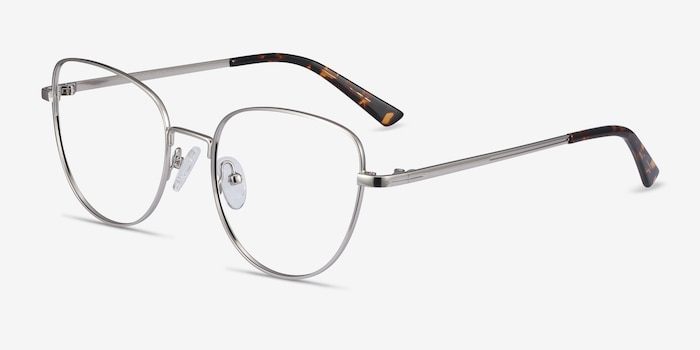 Clotilde Silver Metal Eyeglass Frames from EyeBuyDirect, Angle View