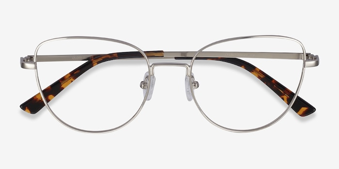 Clotilde Silver Metal Eyeglass Frames from EyeBuyDirect, Closed View