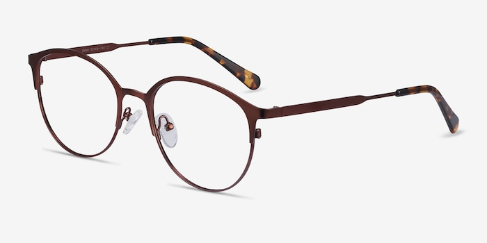 Emma Brown Metal Eyeglass Frames from EyeBuyDirect, Angle View