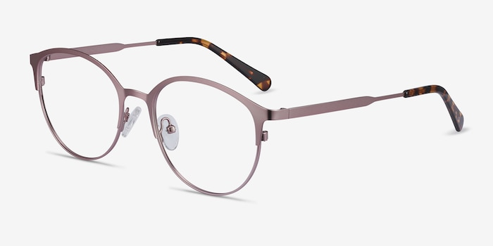 Emma Pink Metal Eyeglass Frames from EyeBuyDirect, Angle View