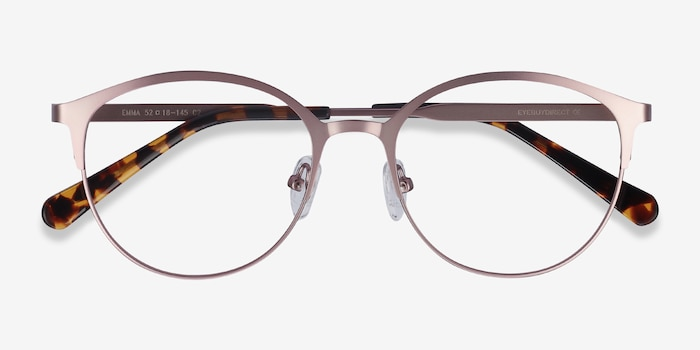 Emma Pink Metal Eyeglass Frames from EyeBuyDirect, Closed View