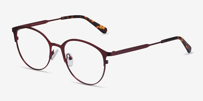 Emma Red Metal Eyeglass Frames from EyeBuyDirect, Angle View