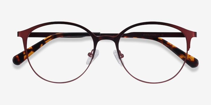 Emma Red Metal Eyeglass Frames from EyeBuyDirect, Closed View