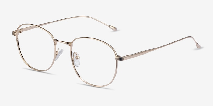 Vantage Gold Metal Eyeglass Frames from EyeBuyDirect, Angle View