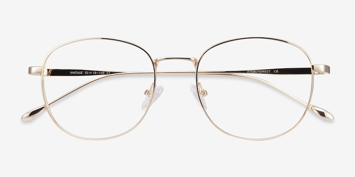 Vantage Gold Metal Eyeglass Frames from EyeBuyDirect, Closed View