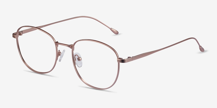 Vantage Rose Gold Metal Eyeglass Frames from EyeBuyDirect, Angle View