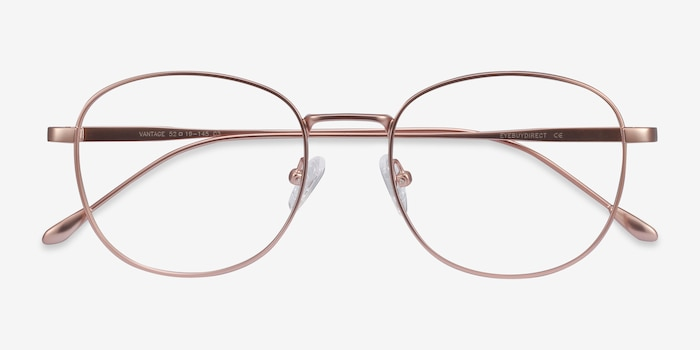 Vantage Rose Gold Metal Eyeglass Frames from EyeBuyDirect, Closed View