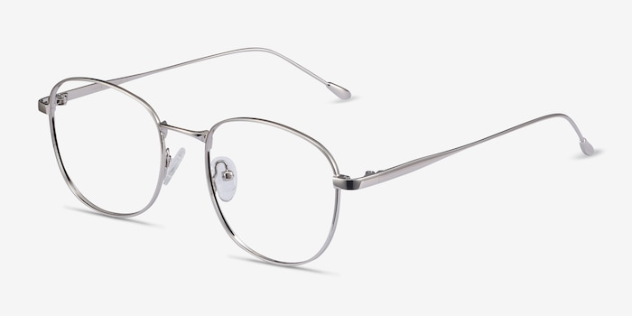 Vantage Silver Metal Eyeglass Frames from EyeBuyDirect, Angle View