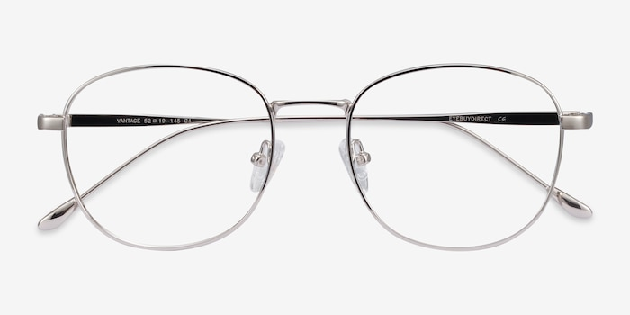 Vantage Silver Metal Eyeglass Frames from EyeBuyDirect, Closed View