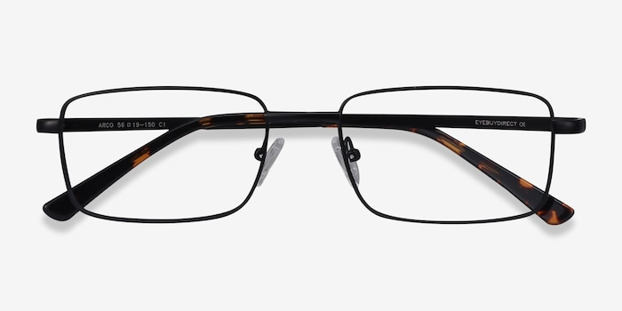 Arco Black Metal Eyeglass Frames from EyeBuyDirect, Closed View