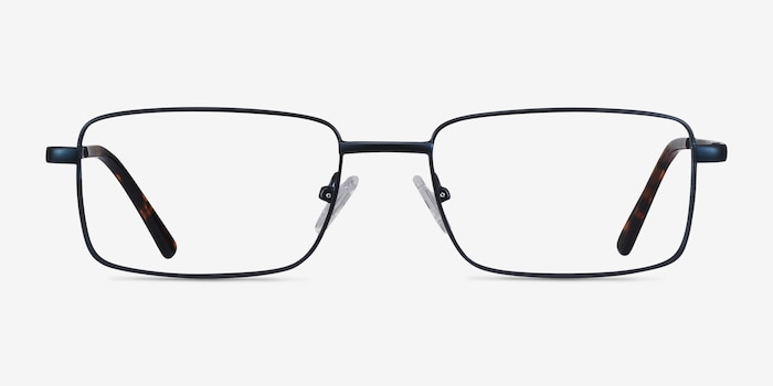 Arco Navy Metal Eyeglass Frames from EyeBuyDirect, Front View