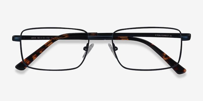 Arco Navy Metal Eyeglass Frames from EyeBuyDirect, Closed View