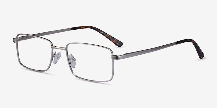 Arco Silver Metal Eyeglass Frames from EyeBuyDirect, Angle View